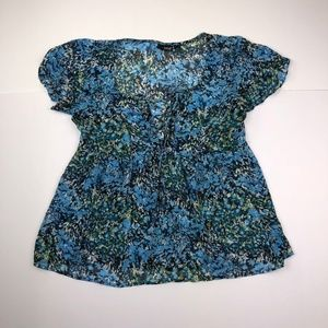 Ana A New Approach Small Blue See Throw Top Blouse